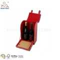 Red Color Unique Style Leather Appearance Wooden Wine Boxes For Sale