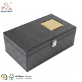 Black Color Metal Lock Single Handle Leather Gift Boxes For Wine